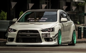 Picture white, mitsubishi, tuning, lancer, evolution, street