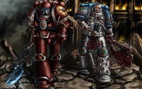 Picture 40000, soldiers, armor, Warhammer 40K, elites