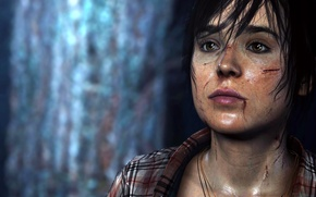 Picture look, blood, the game, brunette, shirt, Quantic Dream, Juno, wounds, Ellen Page, Beyond