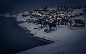 Picture dark, landscape, night, winter, snow, houses, cold, cityscape, capital, Nuuk, Myggedalen, capital region, greenland
