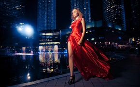 Picture girl, night city, red dress
