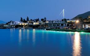 Picture sunset, blue, lights, Marina, Sea, boat, cafe, azure..