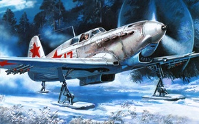 Picture the plane, ski, fighter, Maya, the rise, chassis, it, December, Soviet, single-engine, aircraft, WW2. the …