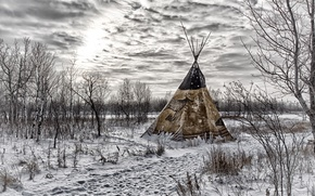 Picture sky, trees, winter, clouds, snow, tepee