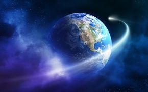 Picture Earth, planet, asteroid, Sci Fi