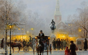 Picture winter, snow, the city, people, picture, monument, coach, Boston, Harvey G, Winter Evening In Old …