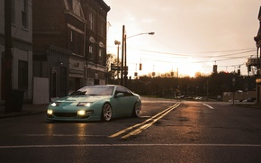 Picture the city, green, street, Nissan, Nissan, 300zx, fairlady