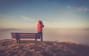 Picture girl, morning, fog, hill, sunrise, dawn, shoot, bench, top, sunlight, countryside, mist, overlook, daylight, photographing