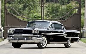 Picture background, coupe, gate, classic, Coupe, Pontiac, Pontiac, the front, Sport, Custom, 1958, sulfur, Bonneville, Bonneville