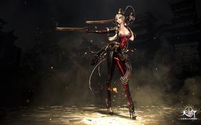 Wallpaper fire, red, flame, girl, sword, gun, pistol, rock, game, weapon, hat, woman, online, dust, ken, ...