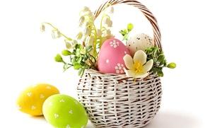 Picture flower, eggs, spring, Easter, basket