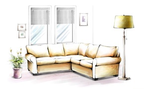 Picture flower, sofa, Wallpaper, figure, lamp, window, pictures