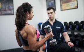 Picture fitness, coach, arms, dumbbell, muscular back