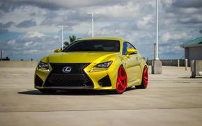 Picture Lexus, Red, Gold, Wheels, RC-F, LP5