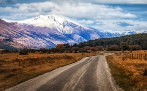 Picture road, the sky, clouds, mountains, lake, the fence, field, New Zealand, Glenorchy