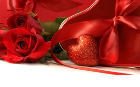 Picture holiday, rose, rose, heart, bow, heart, ribbon, Valentine's day, holiday, bow, ribbon, Valentine's day