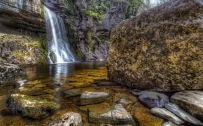 Picture stones, rocks, waterfall, HDR, UK, Thorton Force Waterfall
