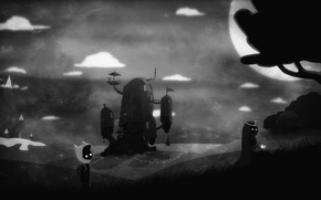 Picture adventure, art, Princess, limbo, the moon, butterfly, clouds, boy