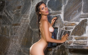 Wallpaper ass, chest, look, water, squirt, pose, model, naked, wet, makeup, figure, brunette, shower, is, jet, ...