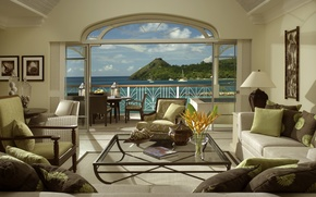 Picture sea, flowers, design, house, style, the ocean, furniture, Villa, view, yachts, relax, lamp, pictures, book, ...