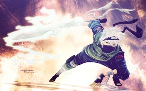 Picture flame, white, sword, Naruto, stand, bandages, ninja, sensei, Hatake Kakashi, bandage on forehead