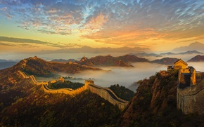 Picture mountains, wall, dawn, China, architecture, history, The great wall of China