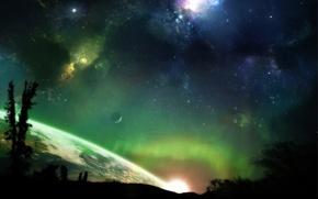 Wallpaper the universe, planet, stars, Aurora borealis