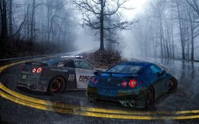 Picture rain, police, Hot Pursuit, Nissan GT-R