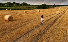 Picture road, field, the sky, girl, clouds, bike, hay, girl, walk, sky, field, clouds, walk, hay, …