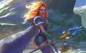 Picture girl, the wind, art, staff, Crystal Maiden, Dota 2, Rylai