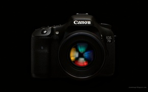 Picture the camera, black background, Canon, EF 100mm F2.8L macro Hybrid IS, EOS 7D