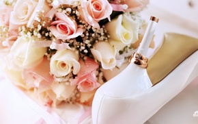 Wallpaper flowers, wedding, shoes, holidays, holiday, ring, ring, shoes, heel, wedding