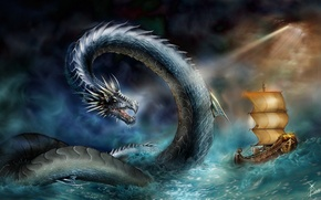 Picture sea, storm, ship, attack, snakes, sea
