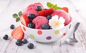 Picture berries, ice cream, fresh, dessert, sweet, sweet, dessert, berries, ice cream