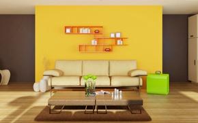Wallpaper minimalism, sofa, interior, bright