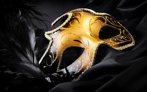 Picture black, feathers, silk, sequins, mask, gold