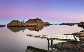 Picture landscape, bridge, lake