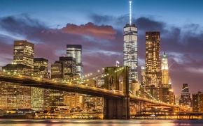 Picture the city, lights, New York, USA, Brooklyn bridge, Manhattan