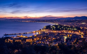 Picture night, lights, France, port, Nice, the Bay of Angels