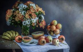 Picture flowers, fruit, still life, Tropical colors