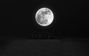 Picture night, darkness, the moon, Stonehenge, moon, stonehenge