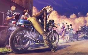 Picture look, sunset, pose, smile, girls, street, motorcycle, guys, art, characters, my goddess!, belldandy, socha, urd, …