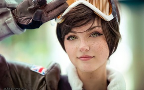 Picture eyes, girl, face, freckles, girl, eyes, cosplay, face, cute, Cosplay, Overwatch, Tracer, tracer, overwatch