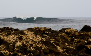 Wallpaper sea, wave, rainy, rocks, surfers, surfboards, surfing