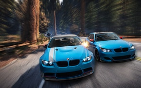 Picture forest, BMW, sparks, blue, front, E92, E60, Aksyonov Nikita Andreevich