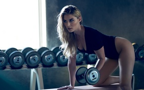 Picture girl, figure, beauty, exercise, dumbbell