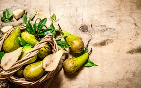 Picture leaves, food, fruit, basket, pear