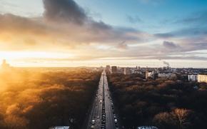 Picture the sun, landscape, the city, sunrise