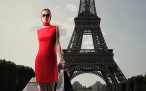 Picture girl, Eiffel tower, dress, packages, sunglasses