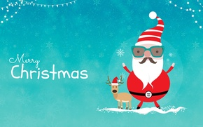 Picture deer, New year, Santa Claus, Merry Christmas
